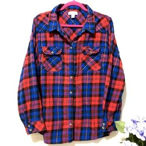 Forever 21 Blue and Red Plaid Button Up